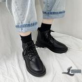 短靴馬丁靴加絨百搭小短靴英倫風黑色女靴子【邻家小鎮】