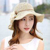 草帽女夏季韓版百搭復古出游防曬帽防紫外線沙灘帽花朵裝飾大沿帽 生日禮物