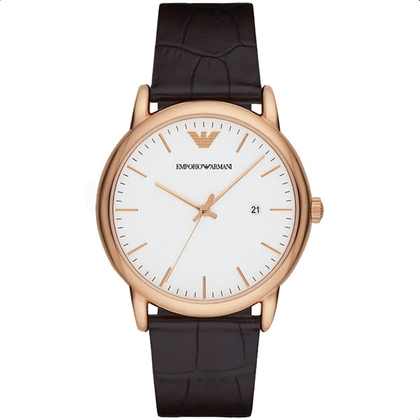 Emporio Armani 亞曼尼 Classic 都會時尚石英手錶-白x玫塊金x咖啡/42mm AR2502