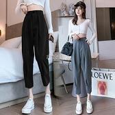 西裝褲女高腰顯瘦2021春季新款直筒垂感八分小個子寬鬆束腳休閒褲 快速出貨