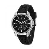 【Maserati 瑪莎拉蒂】SUCCESSO經典三眼矽膠胎紋設計時尚腕錶/R8871621014/台灣總代理公司貨享兩年保