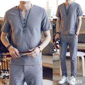 棉麻套裝 夏季佛系唐裝亞麻料短袖T恤男士九分長褲棉麻布漢服兩件套裝 QG21194『Bad boy時尚』