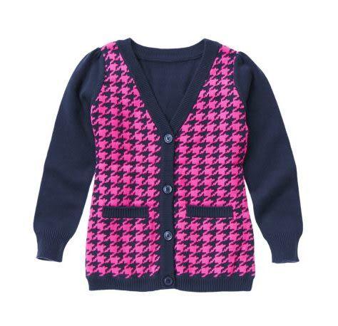 GYMBOREE長袖外套  粉紅千鳥紋圖案深藍色長袖開襟外套
