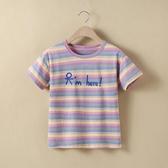 條紋女童T恤兒童夏裝新款洋氣圓領大童短袖上衣純棉女孩半袖t 米希美衣
