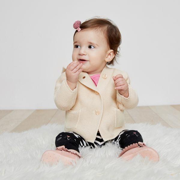 Gap男女嬰兒 純棉熊耳連帽針織長袖開襟衫 柔軟彈力寶寶外套 215587