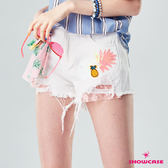 【SHOWCASE】潮流刷破鳳梨亮片 領巾裝飾抽鬚破褲(白色)