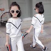 童裝女童秋裝套裝新款韓版春秋中大兒童運動兩件套秋季洋氣潮 依夏嚴選
