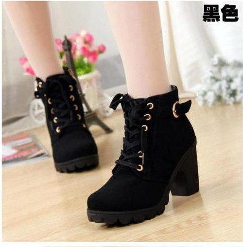 967+4 愛麗絲的最愛 韓版時尚~氣質百搭繫帶側拉鏈皮帶設設粗跟短靴/踝靴 (現貨+預購)