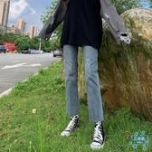 直筒牛仔褲女 牛仔褲女2019冬季新款加絨百搭 寬鬆闊腿薄絨直筒褲子  艾森堡家居