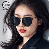 太陽眼鏡 墨鏡女韓版潮復古原宿風街拍偏光圓臉新款太陽鏡-新年聚優惠