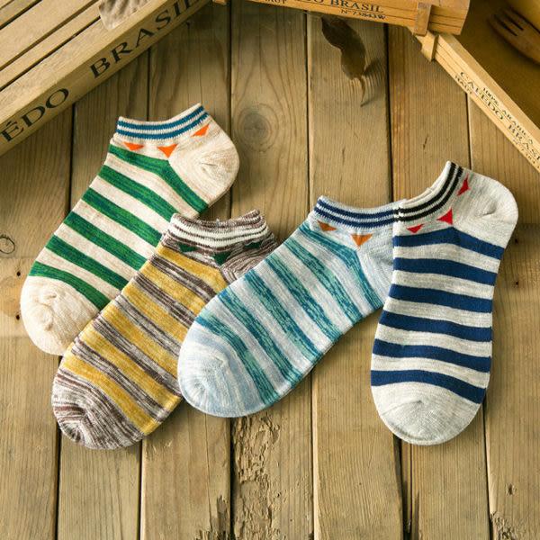 襪子   民族風條紋短筒男襪 船襪 短筒襪 純棉  【FSM012】-收納女王