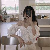吊帶上衣 港味復古chic蕾絲吊帶繫帶性感小心機設計感百搭修身無袖短款上衣 夢藝家