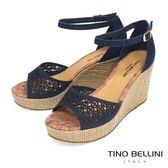 Tino Bellini 巴西進口切割皮紋圖騰鏤空楔型涼鞋_ 藍 A73006A 歐洲進口款