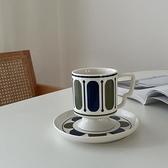 復古vintage高腳咖啡杯蝴蝶耳把手創意陶瓷杯牛奶早餐杯網紅 錢夫人小舖