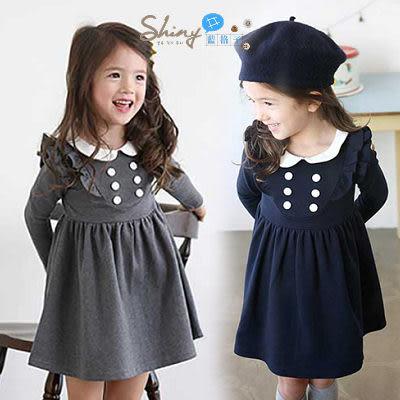 【R2460】shiny藍格子-嬰幼館。春裝新款女童長袖連身裙
