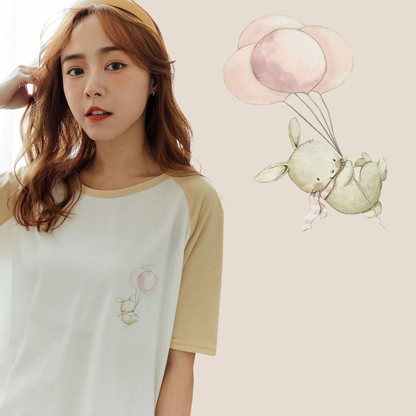 MIUSTAR 正韓-抓氣球的兔子配色袖棉質上衣(共1色)【NJ2014RX】預購