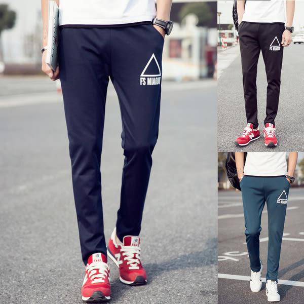 【大碼】三角形字母印花直筒休閒褲 3色 M-5XL碼【CM65030】