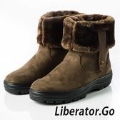 【Liberator】女高筒防潑水可翻拉鍊鈕扣雪鞋『卡其』L5021 (冰爪 / 厚鋪毛 /防滑鞋底) 靴.保暖.抗寒