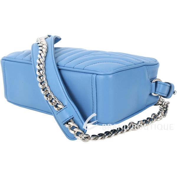 PRADA Diagramme 迷你款絎縫小牛皮斜背鍊帶包(水藍色) 1810424-27