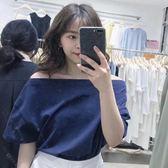 性感一字領露肩2018春夏寬松短袖t恤顯瘦上衣女