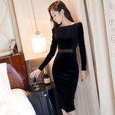 名媛洋裝春裝新款女裝絲絨中長款修身顯瘦包臀長袖氣質禮服 草莓妞妞