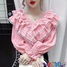 荷葉邊上衣 2021春裝新款女裝上衣粉色設計感小眾泡泡長袖蕾絲拼接荷葉邊襯衫寶貝計畫 上新