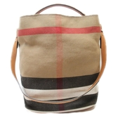 BURBERRY 巴寶莉 棕色帆布斜背肩背兩用包Backet Shoulderbag 【BRAND OFF】