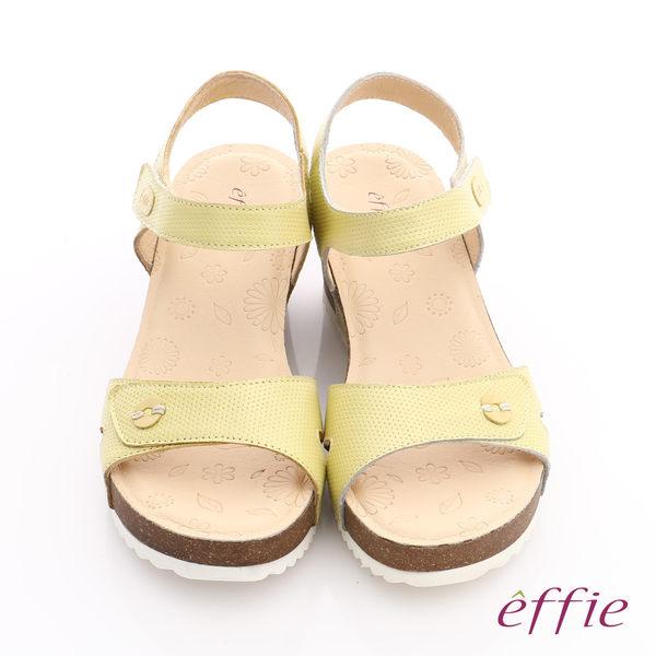 effie 嬉皮假期 真皮點點魔鬼氈楔型涼拖鞋 黃