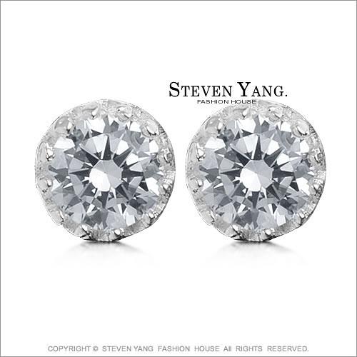 925純銀耳環STEVEN YANG 八心八箭鑽石皇冠 8mm 耳針式* 一對價格*