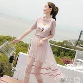 2019夏季新款套裝裙子兩件套韓版時尚學生T恤半身網紗連身裙女潮      橙子精品