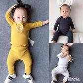 女嬰兒衣服男寶寶秋款3個月1歲小童打底衫套裝  LY8172『美鞋公社』