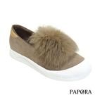 PAPORA絨球平底鞋KYK3黑/米(零碼售完不補)