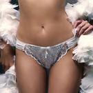 Chasney Beauty-矢車菊Bluebottle立體刺繡S-L丁褲(白襯紫)