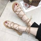 夏季新款韓版交叉綁帶涼鞋女學生平底百搭系帶羅馬旅游度假沙灘鞋 限時下殺7折