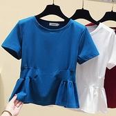 2021夏裝新款大碼女裝顯瘦t恤微胖妹妹減齡收腰遮肉秋裝心機上衣 【端午節特惠】