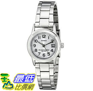 [美國直購] 手錶 Casio Womens LTP-S100D-7BVCF Easy-To-Read Solar Stainless Steel Watch