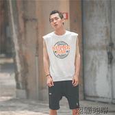 原宿bf嘻哈T恤夏裝新款無袖體恤韓版寬鬆運動沙灘旅游休閒背心男【潮咖地帶】