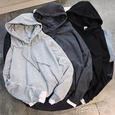 秋冬季男士休閒連帽T恤韓版寬鬆連帽套頭衫潮流青年印花假兩件上衣服 【快速出貨】