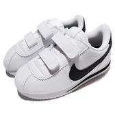 Nike 復古慢跑鞋 Cortez Basic SL TDV 白 黑 阿甘鞋 魔鬼氈 皮革 童鞋 小童鞋【PUMP306】 904769-102