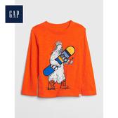 Gap男幼童 可愛恐龍圖案圓領長袖套頭T恤522850-運動橙色