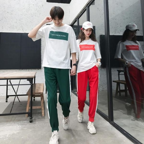 情侶夏裝 新款運動套裝短袖學生班服韓版潮氣質兩件套 格林世家