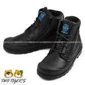 法國 Palladium Waterproof 黑色 皮革 防水短靴 中童靴 NO.R2235