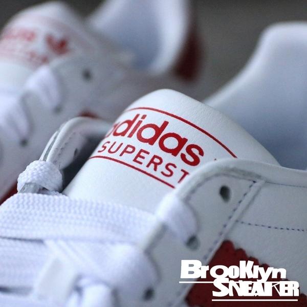 Adidas Originals Superstar 白紅 皮革 粗條 慢跑鞋 男 (布魯克林) 2019/1月 BD7370
