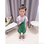 男童綠色背帶褲新款兒童吊帶褲薄款韓國中童寶寶帥氣連體短褲艾美時尚衣櫥