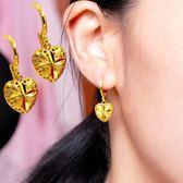 仿真黃金愛心耳環久不掉色歐幣鍍24K999越南沙金小巧精致超仙耳墜