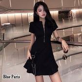 藍色巴黎 ★ 韓系 纯色開襟拉鍊修身短袖連身裙 洋裝【28699】