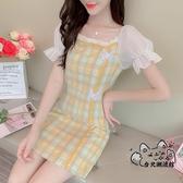 改良式旗袍 格子旗袍改良版連身裙子女裝夏裝2020年新款法式年輕款少女小個子 VK157