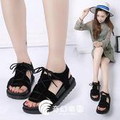 夏季新款平底低跟平跟鬆糕跟厚底羅馬鞋繫帶女涼鞋學生鞋女鞋-奇幻樂園
