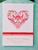 愛心藤紋簽名冊(紅) 結婚用品 婚禮小物 婚俗用品 簽名簿【皇家結婚百貨】