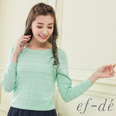 【ef-de】 珠珠滾領輕透層次針織長袖上衣(果綠)
